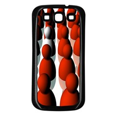 Red White Samsung Galaxy S3 Back Case (Black)