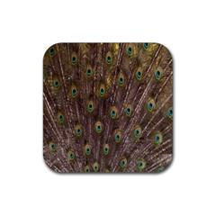 Purple Peacock Feather Wallpaper Rubber Square Coaster (4 pack)