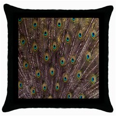 Purple Peacock Feather Wallpaper Throw Pillow Case (Black)