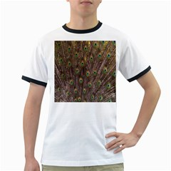 Purple Peacock Feather Wallpaper Ringer T-Shirts
