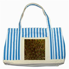 Purple Peacock Feather Wallpaper Striped Blue Tote Bag