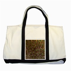 Purple Peacock Feather Wallpaper Two Tone Tote Bag