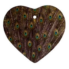 Purple Peacock Feather Wallpaper Heart Ornament (2 Sides)