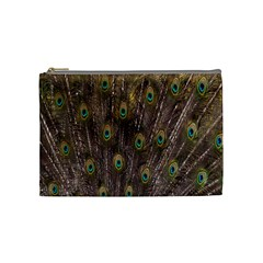 Purple Peacock Feather Wallpaper Cosmetic Bag (Medium)