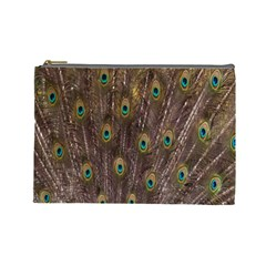 Purple Peacock Feather Wallpaper Cosmetic Bag (Large)