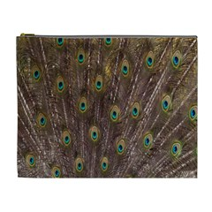 Purple Peacock Feather Wallpaper Cosmetic Bag (XL)