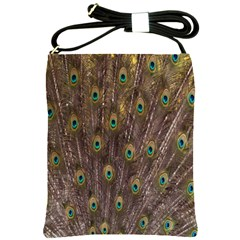 Purple Peacock Feather Wallpaper Shoulder Sling Bags