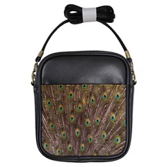 Purple Peacock Feather Wallpaper Girls Sling Bags
