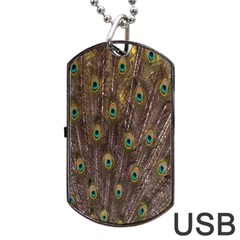 Purple Peacock Feather Wallpaper Dog Tag USB Flash (One Side)