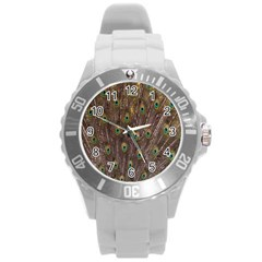 Purple Peacock Feather Wallpaper Round Plastic Sport Watch (L)
