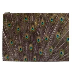 Purple Peacock Feather Wallpaper Cosmetic Bag (XXL)
