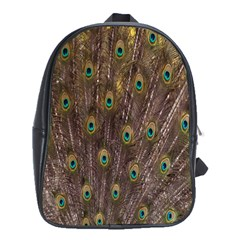 Purple Peacock Feather Wallpaper School Bags (XL)