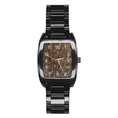 Purple Peacock Feather Wallpaper Stainless Steel Barrel Watch