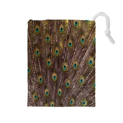 Purple Peacock Feather Wallpaper Drawstring Pouches (Large)