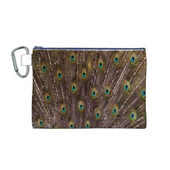 Purple Peacock Feather Wallpaper Canvas Cosmetic Bag (M)