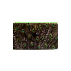 Purple Peacock Feather Wallpaper Cosmetic Bag (XS)