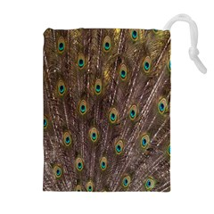 Purple Peacock Feather Wallpaper Drawstring Pouches (Extra Large)