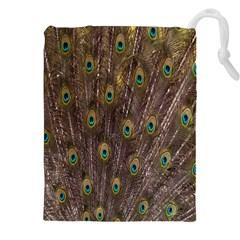 Purple Peacock Feather Wallpaper Drawstring Pouches (XXL)