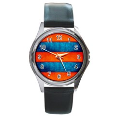 Red Blue Round Metal Watch