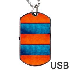Red Blue Dog Tag USB Flash (One Side)