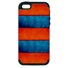 Red Blue Apple iPhone 5 Hardshell Case (PC+Silicone)
