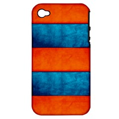 Red Blue Apple iPhone 4/4S Hardshell Case (PC+Silicone)