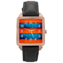 Red Blue Rose Gold Leather Watch