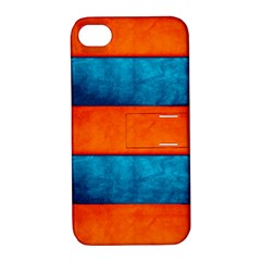 Red Blue Apple iPhone 4/4S Hardshell Case with Stand