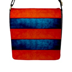 Red Blue Flap Messenger Bag (L)