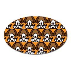 Sitbeagle Dog Orange Oval Magnet