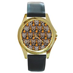 Sitcat Orange Brown Round Gold Metal Watch
