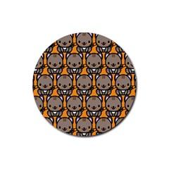 Sitcat Orange Brown Rubber Coaster (Round)
