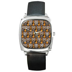 Sitcat Orange Brown Square Metal Watch