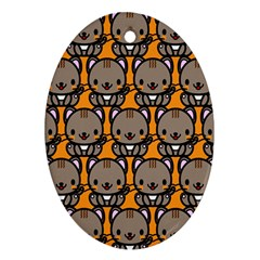Sitcat Orange Brown Oval Ornament (Two Sides)