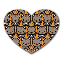 Sitcat Orange Brown Heart Mousepads