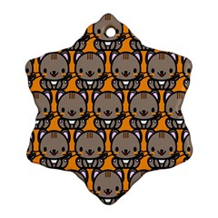 Sitcat Orange Brown Snowflake Ornament (2-Side)