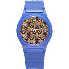 Sitcat Orange Brown Round Plastic Sport Watch (S)