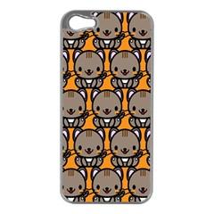 Sitcat Orange Brown Apple iPhone 5 Case (Silver)