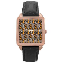Sitcat Orange Brown Rose Gold Leather Watch