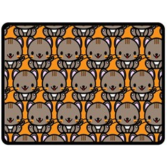 Sitcat Orange Brown Double Sided Fleece Blanket (Large)