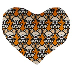 Sitchihuahua Cute Face Dog Chihuahua Large 19  Premium Heart Shape Cushions