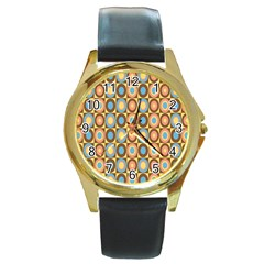 Round Color Round Gold Metal Watch