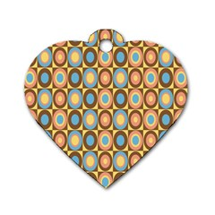 Round Color Dog Tag Heart (One Side)