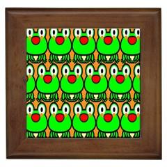Sitfrog Orange Face Green Frog Copy Framed Tiles