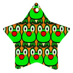 Sitfrog Orange Face Green Frog Copy Ornament (Star)