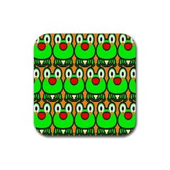 Sitfrog Orange Face Green Frog Copy Rubber Square Coaster (4 pack)