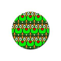 Sitfrog Orange Face Green Frog Copy Rubber Round Coaster (4 pack)