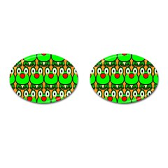 Sitfrog Orange Face Green Frog Copy Cufflinks (Oval)