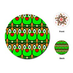 Sitfrog Orange Face Green Frog Copy Playing Cards (Round)