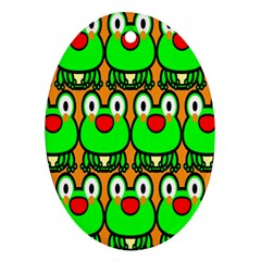 Sitfrog Orange Face Green Frog Copy Oval Ornament (Two Sides)